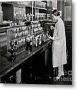 Female Scientist Conducting Experiment Metal Print