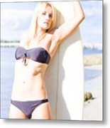 Female Surfer In Sun With Surf Board Metal Print