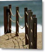 Fence Along The Beach Metal Print