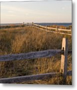 Fence Along The Dunes - Madaket - Nantucket Metal Print