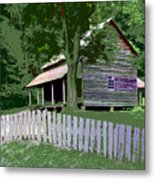 Fence And Cabin Metal Print