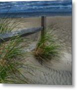 Fence And Dune Grass Metal Print