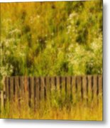 Fence And Hillside Of Wildflowers On Suomenlinna Island In Finland Metal Print