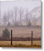 Fence Field And Fog Metal Print