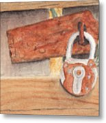 Fence Lock Metal Print