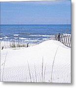Fence On The Beach, Gulf Of Mexico, St Metal Print