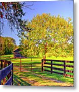 Fence Pasture And Barn 1721 Metal Print