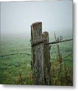 Fence Post And Fog Metal Print