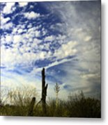 Fence Post And New Mexico Sky Metal Print