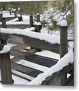 Fence Post At Donner Lake Area Covered Metal Print
