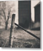 Fence Post In Black And White Metal Print