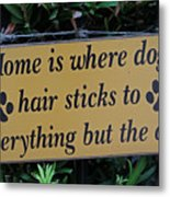 Fence Post With Puppy Saying Metal Print