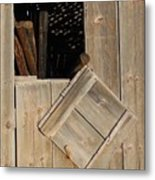 Fence Posts In Barn Metal Print