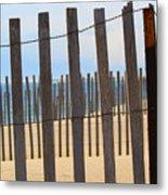 Fenced Off Beach Metal Print