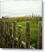 Fences In A Stormy Light Metal Print