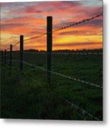 Fencline Sunset Metal Print