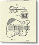 Fender Guitar 1966 Patent Art Metal Print by Prior Art Design