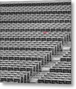 Fenway Park Red Chair Number 21 Bw Metal Print