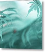Fern Leaves Abstract. Nature In Alien Skin Metal Print