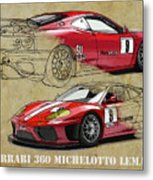 Ferrari 360 Michelotto Le Mans Race Car. Two Drawings One Print Metal Print