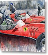 Ferrari Dino 246 F1 1958 Mike Hawthorn French Gp  Metal Print by Yuriy  Shevchuk