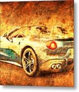 Ferrari F60 America, Golden Poster, Birthday Gift For Men Metal Print
