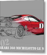 Ferrari Michelotto Race Car. Handmade Drawing. Number 9 Le Mans Metal Print