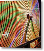 Ferris Wheel  Closeup Night Long Exposure Metal Print