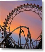 Ferris Wheel Sunset Metal Print by Eena Bo