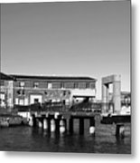 Ferry Building And Pinnacle Building - San Francisco Embarcadero - Black And White Metal Print