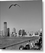 Ferry Ride To Statue Of Liberty Ny Nj Black Wht  Metal Print