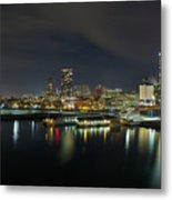 Ferry Terminal In Vancouver Bc At Night Metal Print