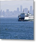 Ferry Versus Kayaker Metal Print