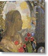 Fertility. Woman In Flowers Metal Print