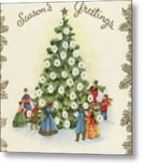 Festive Christmas Tree In A Town Square Metal Print