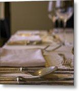 Festive Table Setting For A Formal Dinner  Metal Print