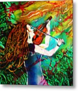 Fiddling Toward The Sun Metal Print