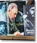 Fidel At The Used Book Sellers Market Metal Print