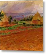 Field And Haystacks 1885 Metal Print
