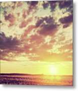 Field, Countryside At Sunset. Harvest Time. Vintage Metal Print