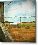 Field Of Freshly Cut Bales Of Hay Metal Print