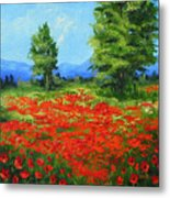 Field Of Poppies IIi Metal Print