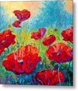 Field Of Red Poppies Metal Print by Marion Rose