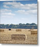 Field With Straw Bale And Center Pivot Sprinkler System Agricult Metal Print