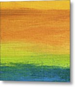 Fields Of Gold 1 - Abstract Summer Landscape Painting Metal Print