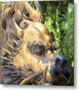 Fierce Foo Dog Face Metal Print