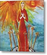 Fiery Eight Of Swords Illustrated Metal Print