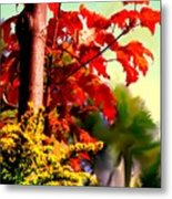Fiery Red Autumn Metal Print