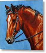 Fiery Red Bay Horse Metal Print by Crista Forest