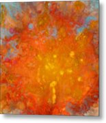 Fiery Sunset Abstract Painting Metal Print by Julia Apostolova